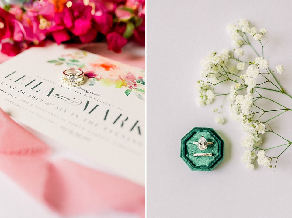The bride's rings placed diagonally on the Wedding Invitations and a second image of the ring box with rings next to Baby's breath.