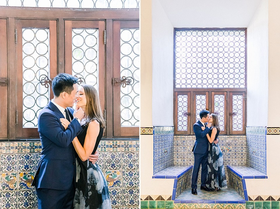 Gideon using his fingers to lift Erica's chin so he can kiss her. A second image of the couple standing in front of a blue tiled wall as they share a kiss during their Santa Barbara Courthouse Engagement session.