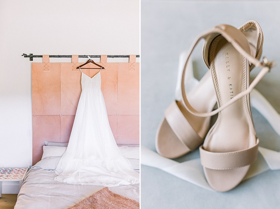 The bride's dress on a hanger hanging above the bed. A second image of her shoes with some white lace.