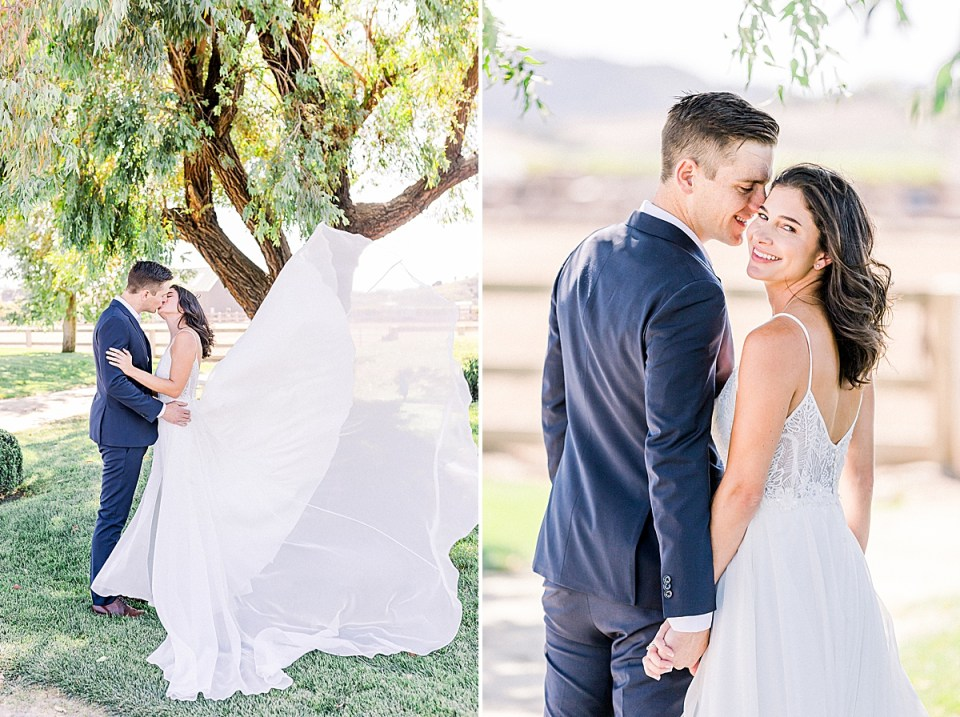 The couple sharing a kiss during their San Luis Obispo Farm Wedding. A second image of Lauren smiling back at the camera while Scott smiles at her.