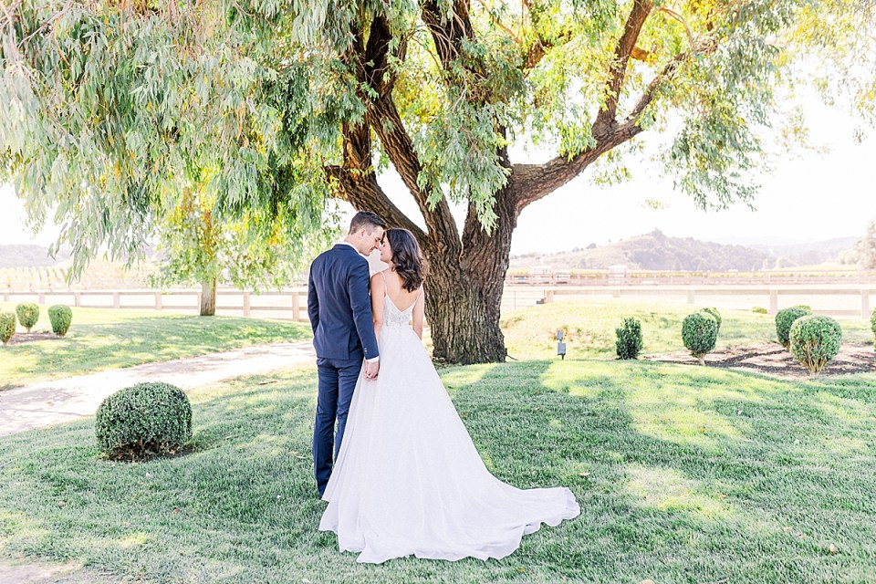 The couple holding hands and touching foreheads underneath a large tree during their San Luis Obispo Farm Wedding