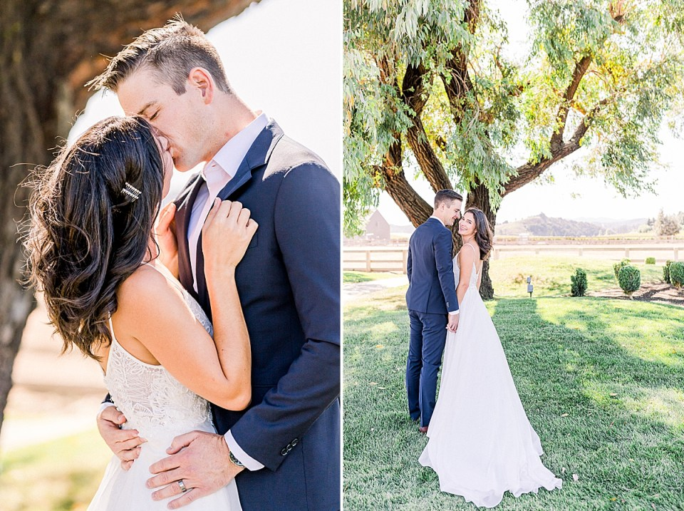 Scott & Lauren sharing a kiss as she holds onto his lapel and he wraps his arms around her waist. A second image of the couple standing close together under a tree with rolling hills and mountains in the background.
