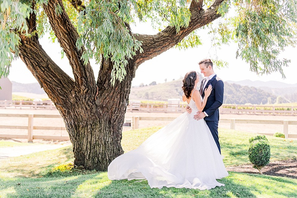 Lauren & Scott looking at each other and sharing a moment under a large tree while the wind blows the layers of her dress.