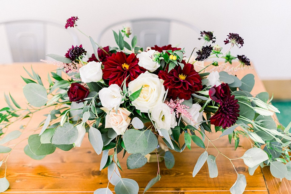 A close up image of one of the reception tables centerpieces.