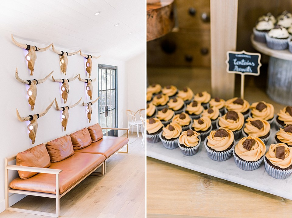 A wall inside the MarFarm wedding venue with wooden skulls on it. A second image of chocolate and peanut butter cupcakes.