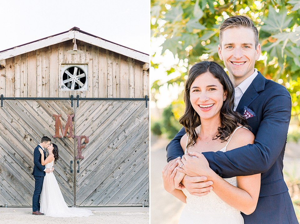 The couple sharing a kiss in front of the barn doors during their San Luis Obispo Farm Wedding. A second image of Scott hugging his wife from behind as they both smile at the camera.