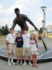 My Dad, my brothers, and I with the Roberto Clemente statue outside of PNC Park.