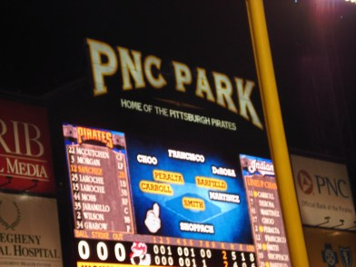 The scoreboard at PNC Park.