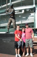 My brothers and I with the Ernie Banks Statue outside of Wrigley Field.