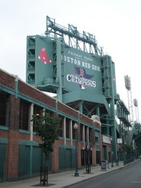 The back of the scoreboard outside of Fenway Park