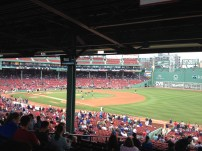 Our view of the field during the game at Fenway Park. As you can see, it was a little obstructed.