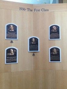 The members of the first induction class to the Hall of Fame