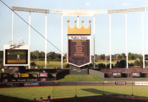 The unique crown scoreboard from 2003. Since then it has grown in size and picture quality and the smaller screen has been removed and more seating added in its place. To the left of the scoreboard is the area where the famous fountains are located.