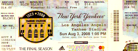 My ticket from the Yankees game I attended in 2008, the final season of Old Yankee Stadium.