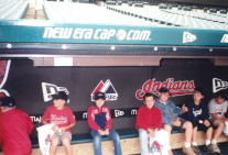 That's me in the center with the blue and red sweatshirt and hat. In fourth grade my class took a tour of the stadium and we were allowed to sit in the Indians dugout.