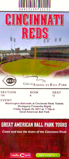 My ticket from the Cincinnati Reds game I attended in 2011