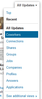 News Feed View options in Linkedin