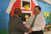 Dixon Road Elementary Principal Kenneth Bennett (left) greets JCPS Superintendent Dr. Ross Renfrow (right) on the first day of school.