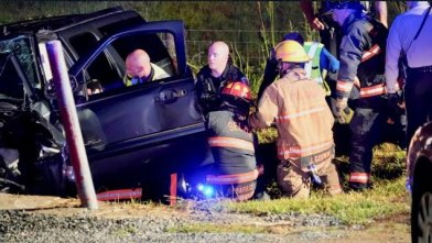 Selma Fire, Selma Police and Johnston County EMS worked together to free Daniel Ramirez of Selma from the mangled wreckage of his GMC SUV early Saturday at Graham and Crocker Streets in the Selma city limits. Photos by John Payne