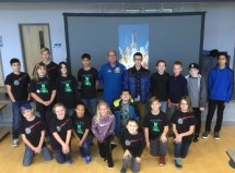 Five FIRST LEGO League teams came together on Monday, Nov. 12, 2018 at Neuse Charter School to hear veteran astronaut Dr. Don Thomas speak about working and living in space. The teams were from various public, charter and homeschool groups in Johnston County. (photo by Shannon Mann)