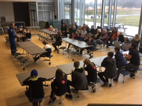 Veteran astronaut Dr. Don Thomas talked to a crowd of roughly 40 students, parents and siblings on Nov. 12, 2018 about working and living in space. The students are members of five different FIRST LEGO League robotics teams from around Johnston County and will compete against each other in early December.