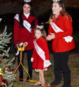 The lighting of the Benson town Christmas Tree was ably done by the three young ladies who represent Benson. They are, from left, Miss Benson Charli Rosenburg, Little Miss Benson Morgan Lee and Junior Miss Benson Gracie Barbour. The tree is on display at Benton Square in downtown Benson.