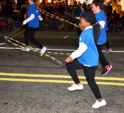 One of the many entries in the Benson Christmas Parade were members of the Benson Elementary School's Jumpin' Dragonflies. Laila Daniel shows off her skills during the parade.