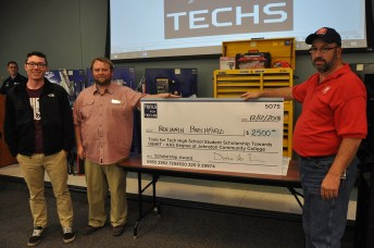 Benjamin Burchfield, left, a Clayton High School student is the recipient of a $2,500 scholarship to study diesel mechanics at JCC. He is pictured with Donnie Hines, NCTMC president and Luther Daniels, Eastern Chapter NCTMC secretary.