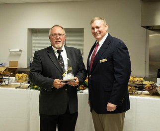 (Left to right) Former Mayor Mike Gordon is presented with the first ever Ceremonial Key to the Town of Archer Lodge by current Mayor Matt Mulhollem.