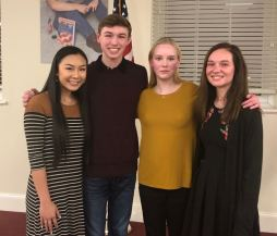 Four JCPS students participated in the Poetry Out Loud competition on Jan. 15. Contestants (from left) were West Johnston High student Jenny Huynh, Johnston County Early College Academy student Seth Mabry, Corinth Holders High student Laura Wood, and Smithfield-Selma High student Jenna Baker.