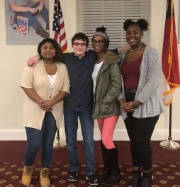 Four JCPS students competed in the Original Poetry competition on Jan. 15. Contestants (from left) were Johnston County Early College Academy student Mia Lopez-Ramos, Corinth Holders High student Steven Clark, Smithfield-Selma High student Alasa Bethea, and West Johnston High student Alex Johnson.
