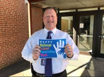 Johnston County Public Schools Superintendent Dr. Ross Renfrow celebrates National School Counseling Week by taking part in the #NSCW19 Photo Challenge.