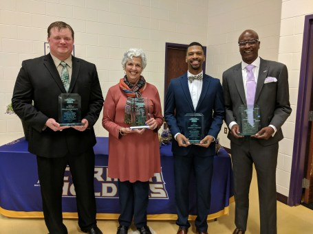 Class of 2019 Johnston County Public Schools Athletic Hall of Fame inductees include (left to right) Brian Honeycutt, Margaret Lee the widow of Phil Lee, Johnny Dutch and Reggie Barnes. Contributed photo