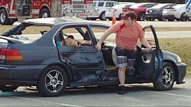 North Johnston High student Trey Allen participates in a mock car accident.