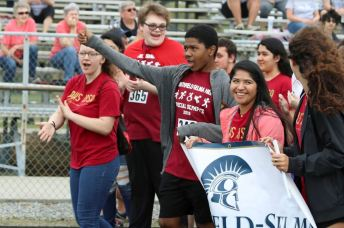 Students from Johnston County Public Schools walk in the opening ceremony parade. Photographed (from left) are Princeton High student Lydia Pearson, Smithfield-Selma High student Ben Weaver, Smithfield-Selma High student Quinton Brady, and Princeton High student Jasmine Hernandez.