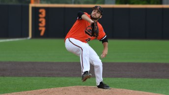 Campbell Rookie left-hander Ryan Chasse led the Fighting Camels to a 4-1 win over Charleston Southern on Sunday in his first-career complete game. Photo by Bennett Scarborough