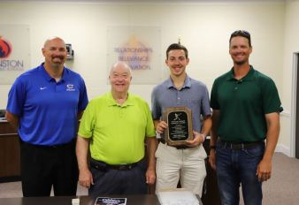 Pictured from left to right are Clayton High Head Varsity Baseball Coach Brandon Lusk, Rooster Narron, Trey Deutsch, and Sam Narron grandson of the award's namesake and a pitching coach for the Potomac Nationals.