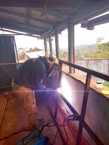 Dylan Smith puts his welding skills to practice during his summer visit to the Ethiopian highlands.