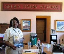 Pevorrice Banks, Team Lead, at the Historic Selma Train Station