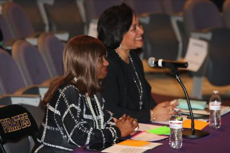 JCPS Chief of Equity, Information and Student Services Crystal Roberts (right) along with JCPS Executive Director of Equity Dee Edmundson (left).
