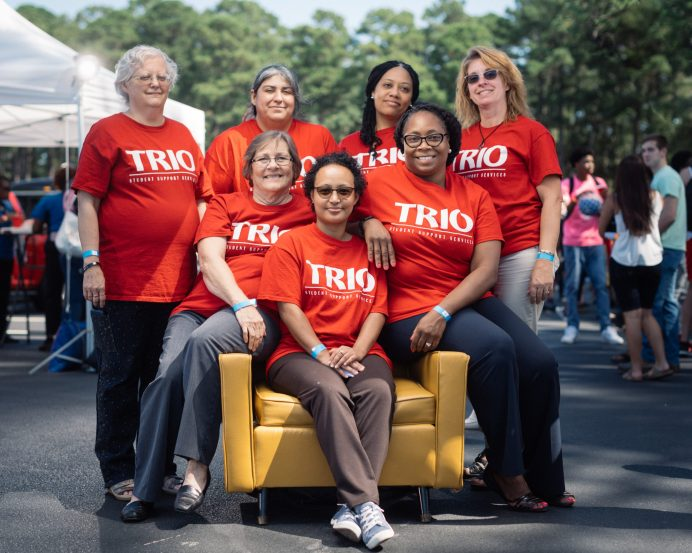 TRIO staff at Johnston Community College look forward to another five years of helping students reach their goals. (Photo taken prior to pandemic.)