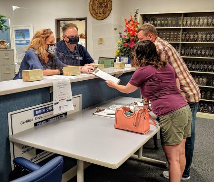 A couple from a nearby county drove to the Johnston County Register of Deeds Office on Wednesday to obtain a marriage license.
