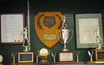A trophy case outside the lobby of the SJHS gym showcases the NCHSAA 3-A state championship plaque and along with other memorabilia from past Trojans teams.