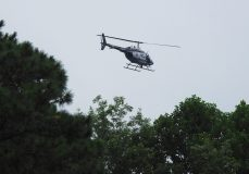 A Highway Patrol helicopter searches between Galilee Road and the Neuse River for the two missing children.