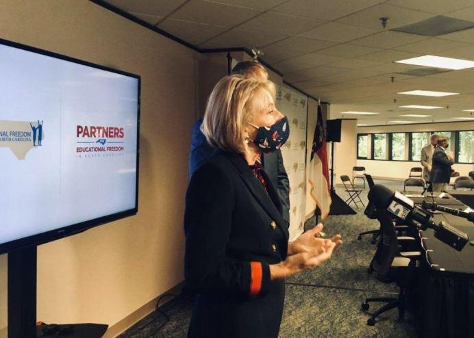 U.S. Education Secretary Betsy DeVos speaks at a Raleigh roundtable Oct. 5, 2020. CJ photo