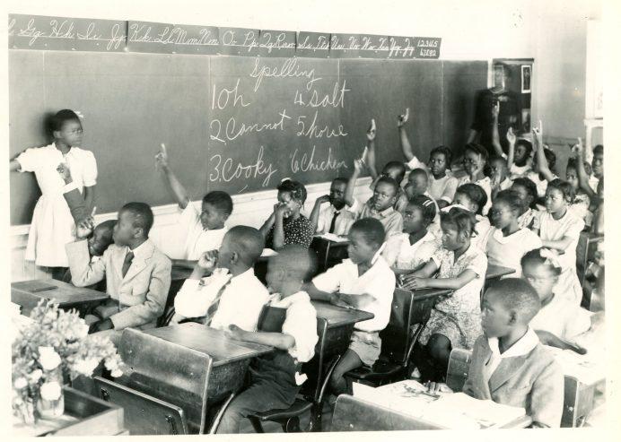 A 1944 photo of a classroom at Short Journey School (Dot Hooks, photographer).