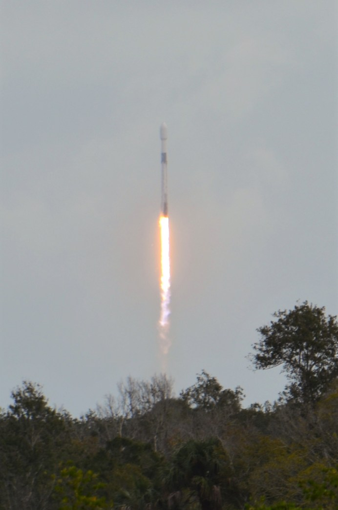 North Carolina's f(x) First in Orbit CubeSat team not only traveled to Kennedy Space Center in October to brief NASA scientists and engineers, but they also got the opportunity to see the 15th mission of SpaceX Falcon 9 Starlink-14 launch from Cape Canaveral. Photo by Dunja Nascimento-Wilson