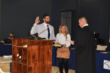 Matthew Nicol is sworn in by North Carolina Court of Appeals Judge Philip Berger Jr. as Commissioner of the Harnett County Board of Commissioners.