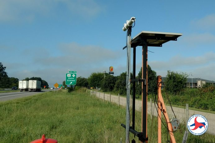 A speed sensor attached to a trailer like this one in Harnett County will help NCDOT officials monitor unexpected slowdowns in the I-95 work zone.