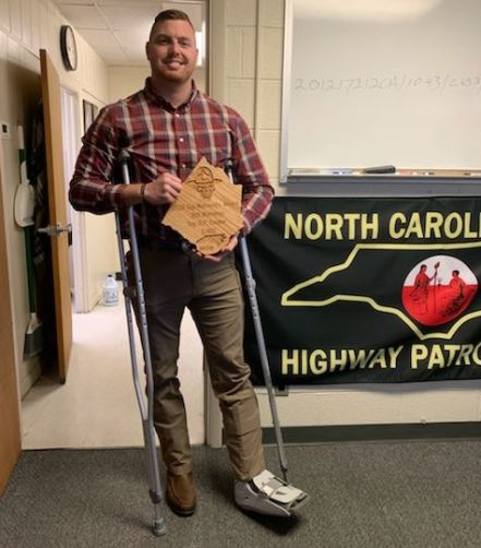 Trooper D.P. Tucker was recognized for issuing the most warning tickets.